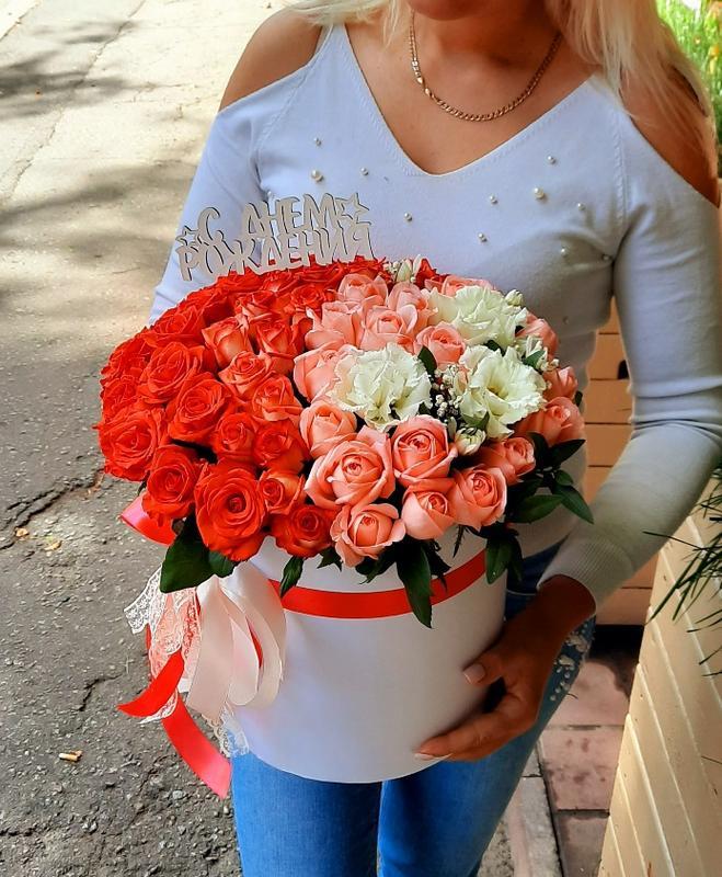 """Цветы в коробке """"С днём рождения""""!"""