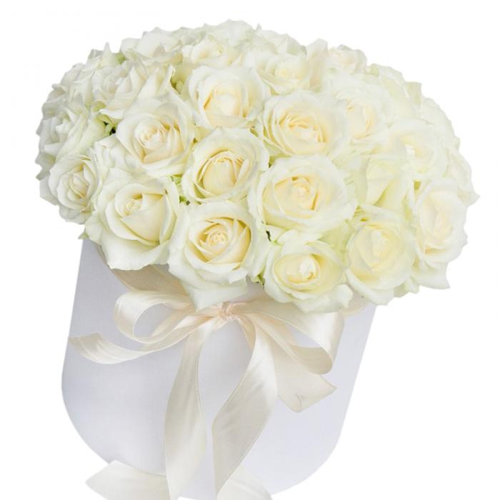 """Коробка с белыми розами """"Эскимо"""""""